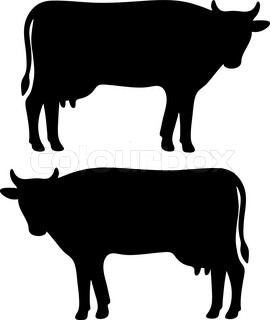 270x320 Goat Cow Animals Calf Isolated White Background Vector Silhouette