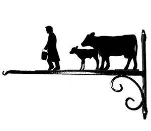 300x261 Cow, Calf Amp Farmer Hanging Basket Bracket