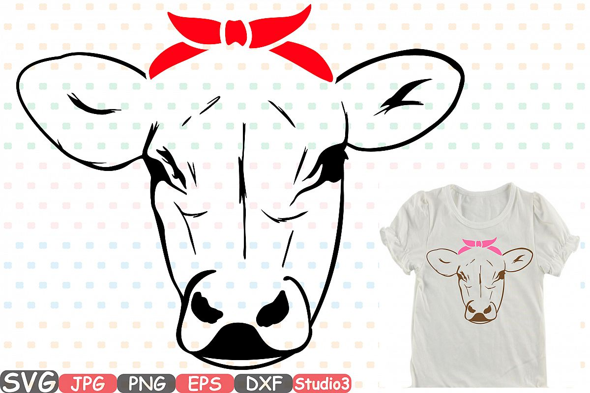 1200x800 Cow Head Whit Bandana Silhouette Svg Cu Design Bundles