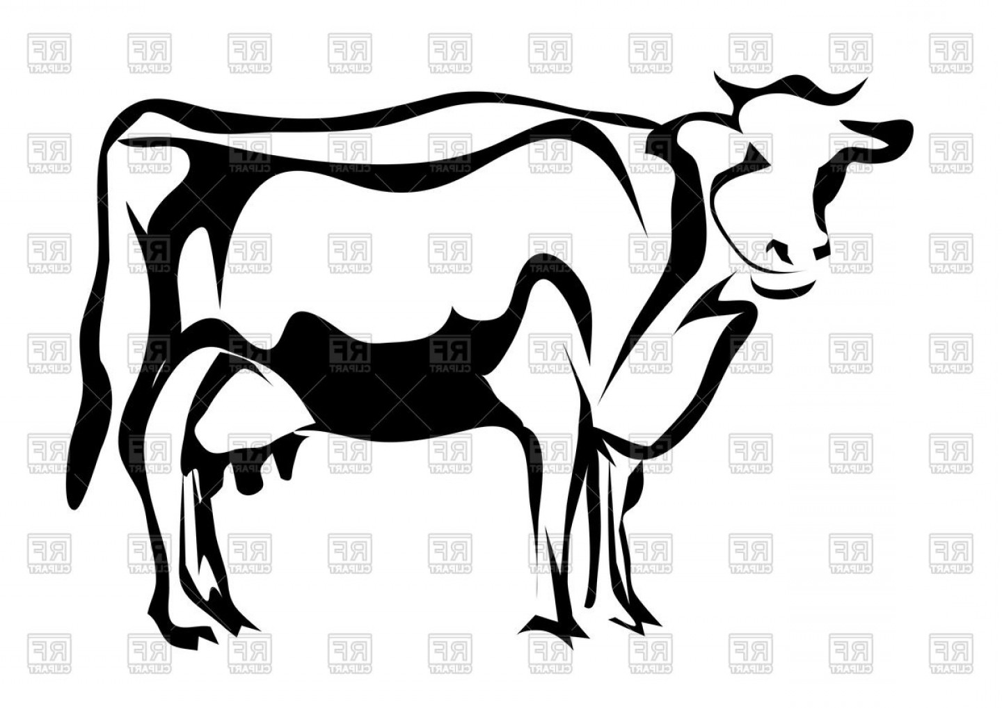 1440x1018 Catchy Silhouette Of Cow Vector Clipart Lazttweet