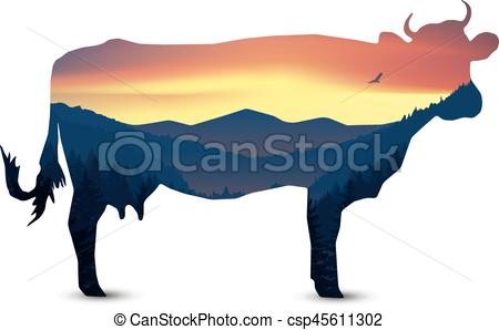 450x298 Silhouette Of Cow With Panorama Of Mountains . Vector Clipart