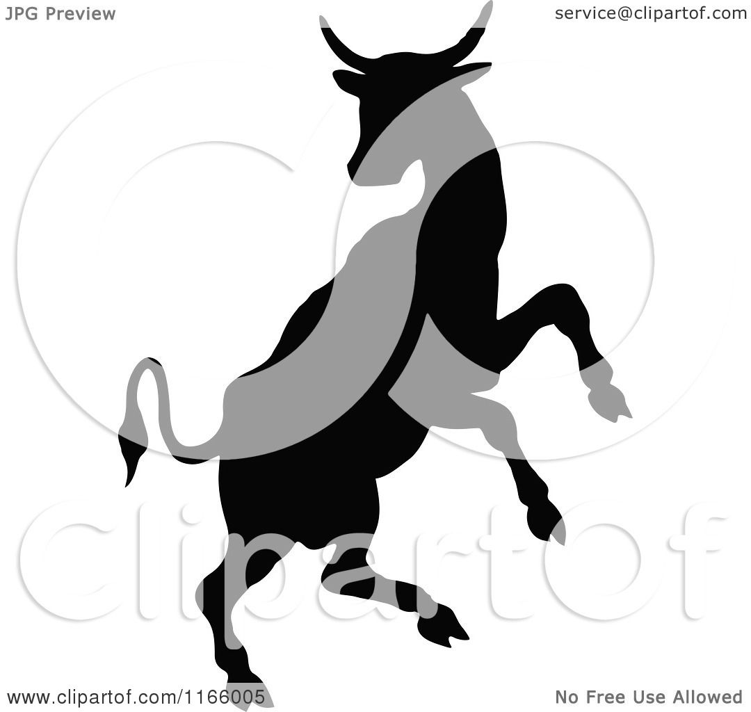 1080x1024 Clipart Of A Silhouetted Rearing Cow