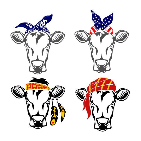600x600 Cow Bandana Kerchief Cuttable Design Cut File. Vector, Clipart