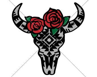 340x270 Cow Skull With Rose Etsy