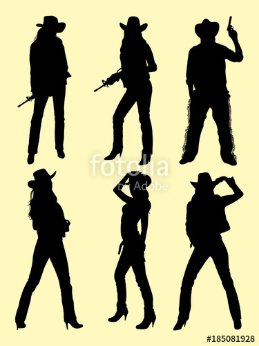375x500 Cowboy Amp Cowgirl Silhouette 01. Good Use For Symbol, Logo, Web