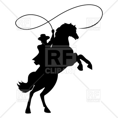 400x400 Cowboy Silhouette With Rope Lasso On Horse Royalty Free Vector