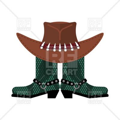 400x400 Australian Hat On Crocodile Skin Boots Royalty Free Vector Clip