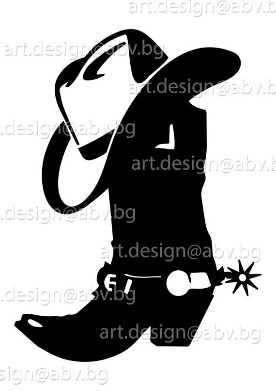 570x806 Vector Cowboy Boots With Hat