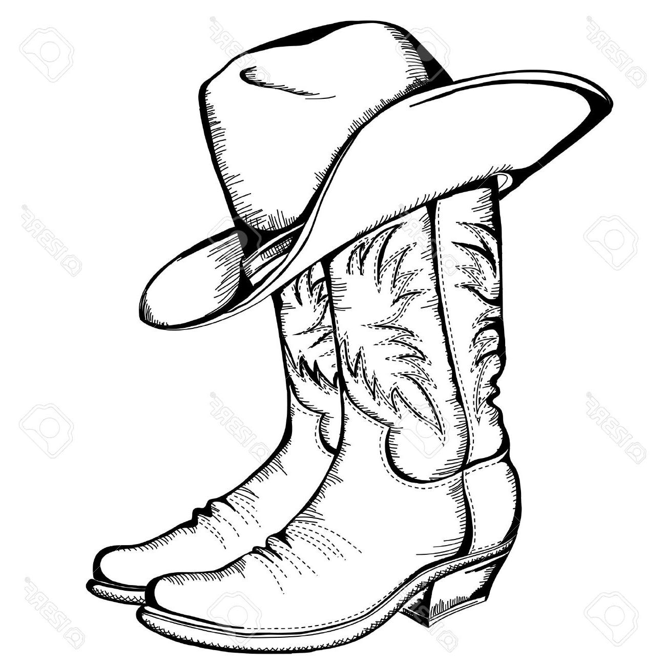 1300x1300 Best 15 Cowboy Boots And Hat Graphic Illustration Library