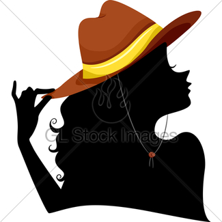 325x325 Silhouette Of A Cowgirl Blowing The Tip Of Pistol Gl Stock Images
