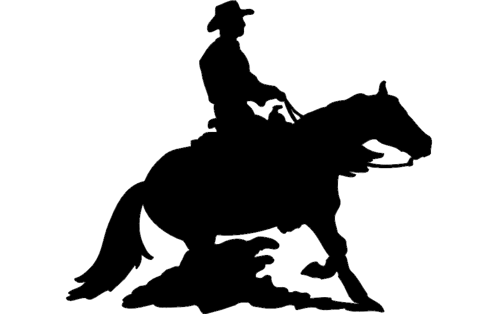 1002x633 Rodeo Silhouette Cowboy Dxf File Free Download