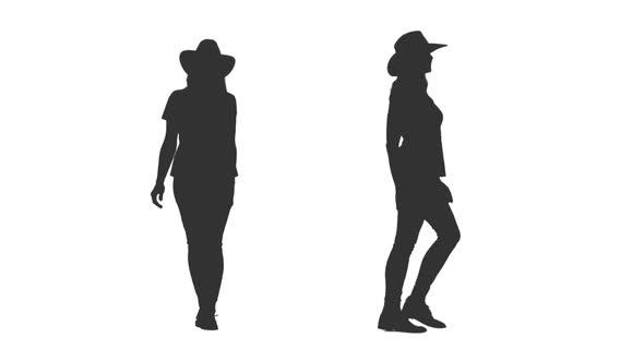 590x332 Walking Female Silhouette In Cowboy Hat, Alpha Channel By Mgpremier