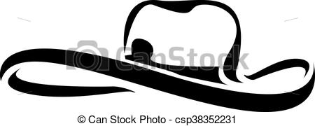 450x180 Cowboy Hat Silhouette Vector Illustration. Cowboy Hat Vectors
