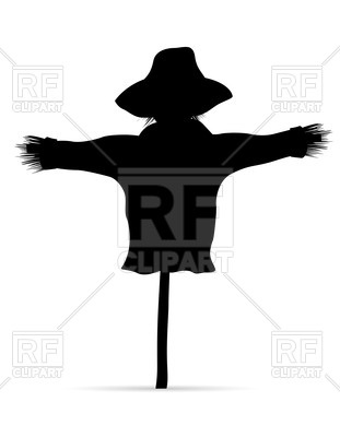 311x400 Black Silhouette Of Scarecrow Royalty Free Vector Clip Art Image