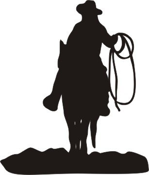 307x360 Cowboy And Horse Silhouette Vinyl Window Decal