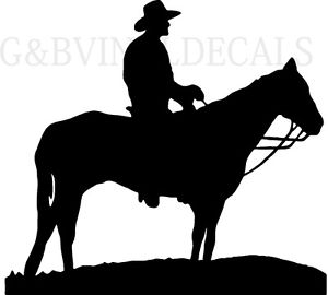 300x270 Cowboy On Horse Western Vinyl Wall Decal Large Size Silhouette