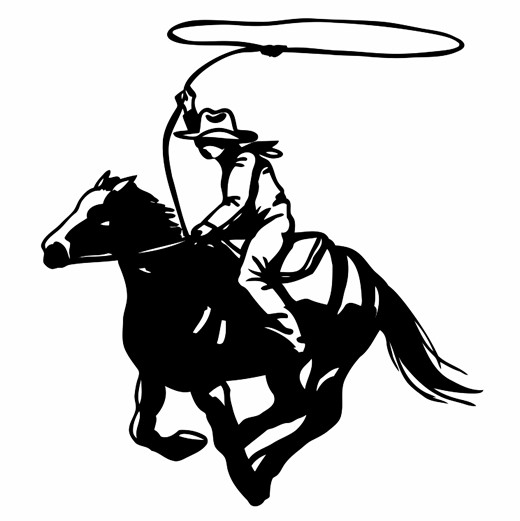 520x521 Cowboy With Lasso On Horse Silhouette Printable Image Illustration