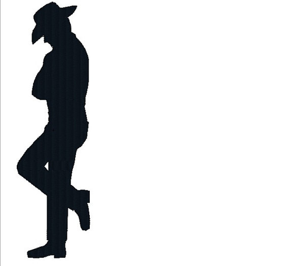 570x525 Standing Cowboy Silhouette