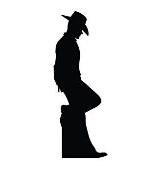 333x355 Cowboy Leaning Silhouette