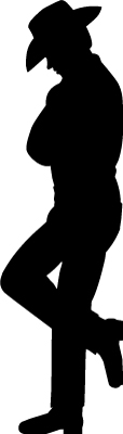 114x400 Wall Decals Leaning Cowboy Silhouette