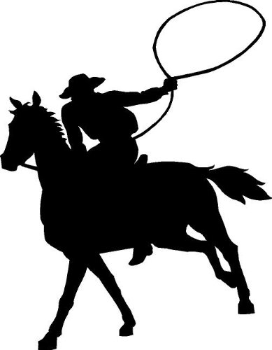 389x500 Cowboy With Lasso Clipart Black And White