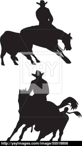 288x512 Rodeo Cowboy Horse Riding Silhouette Vector