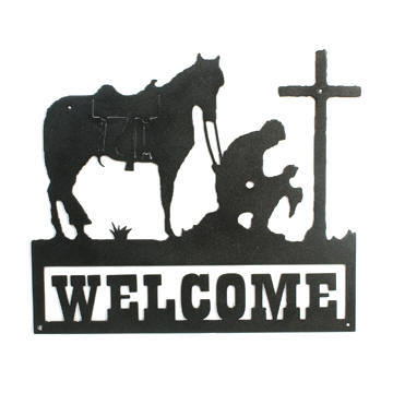 360x360 Praying Cowboy Cross Amp Horse Welcome Sign