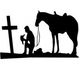 265x265 Praying Cowboy Die Cut Decal Car Window Wall Bumper Phone
