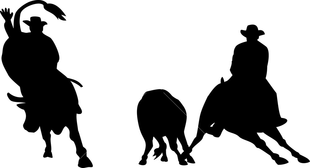 1000x544 Rodeo Cowboy Horse Bull Riding Silhouette Royalty Free Stock Image