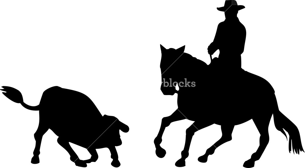 1000x553 Rodeo Cowboy Horse Riding Silhouette Royalty Free Stock Image