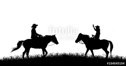 500x262 Silhouette Cowboy Riding Horse On White Background Stock Photo
