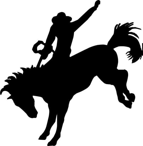 588x600 Cowboy Horse Silhouette Bronc Riding Silhouette