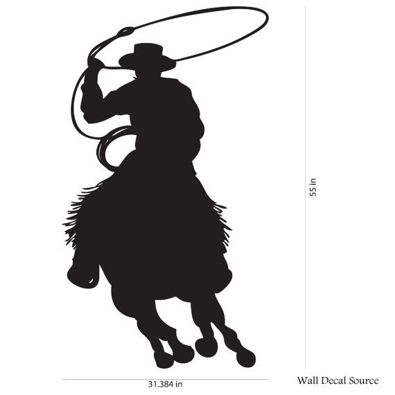 570x570 Cowboy Roper On Horse Vinyl Wall Decal Boys By Walldecalsource