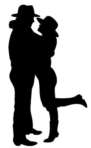 294x480 Cowboy Couple Silhouette Decal Sticker