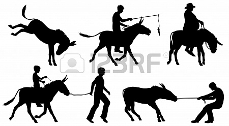 450x248 Set Of Editable Vector Silhouettes Of Donkeys And People