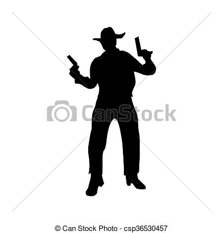 450x470 Cowboy Silhouette Black Icon Isolated On White Background Stock