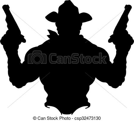 450x406 Cowboy Silhouette. Silhouette Of Muscular Cowboy Holding Up