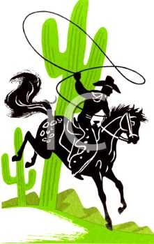221x350 Silhouette Of A Cowboy With A Lariat And Cactus