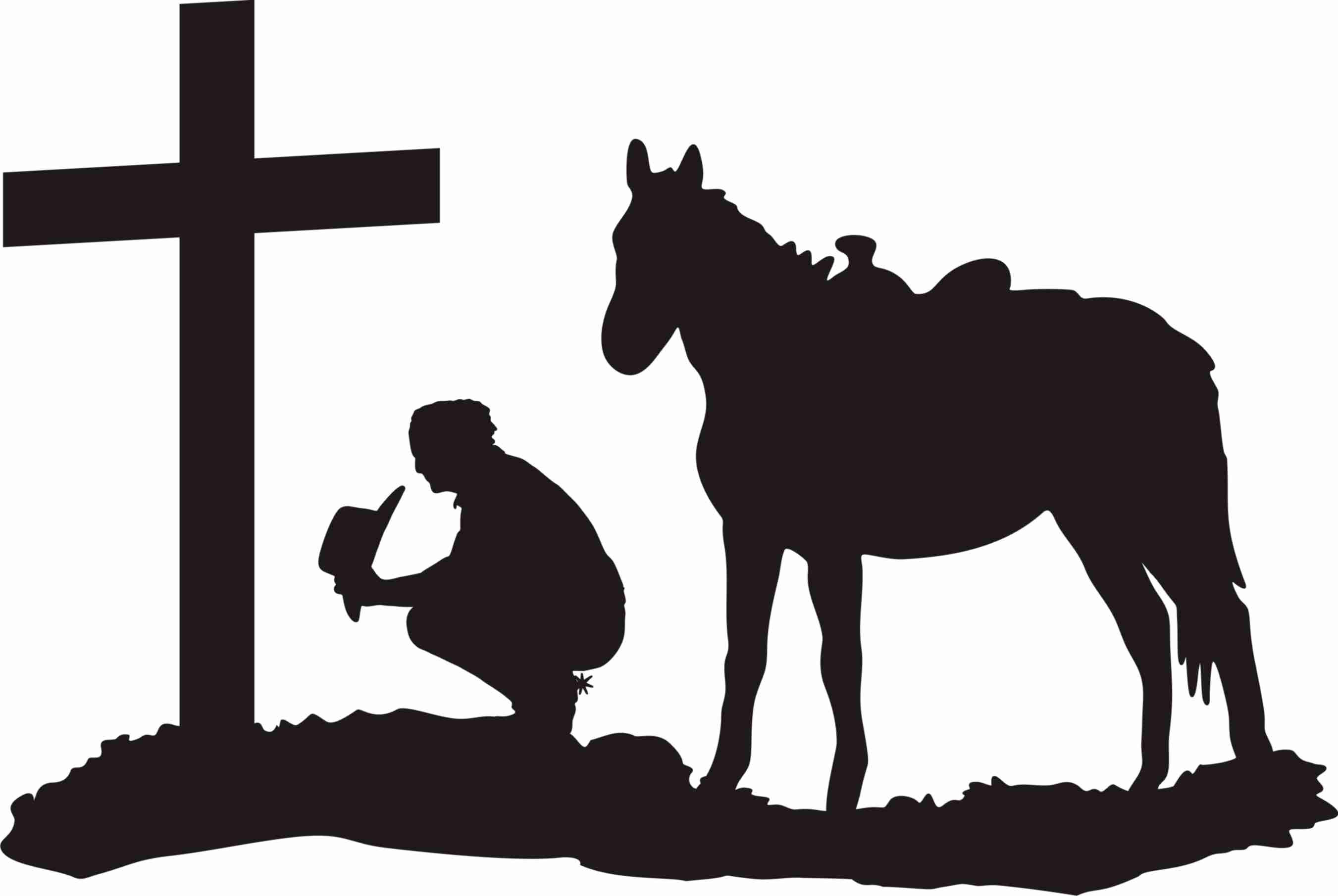 2702x1811 Cowboy At The Cross Clipart