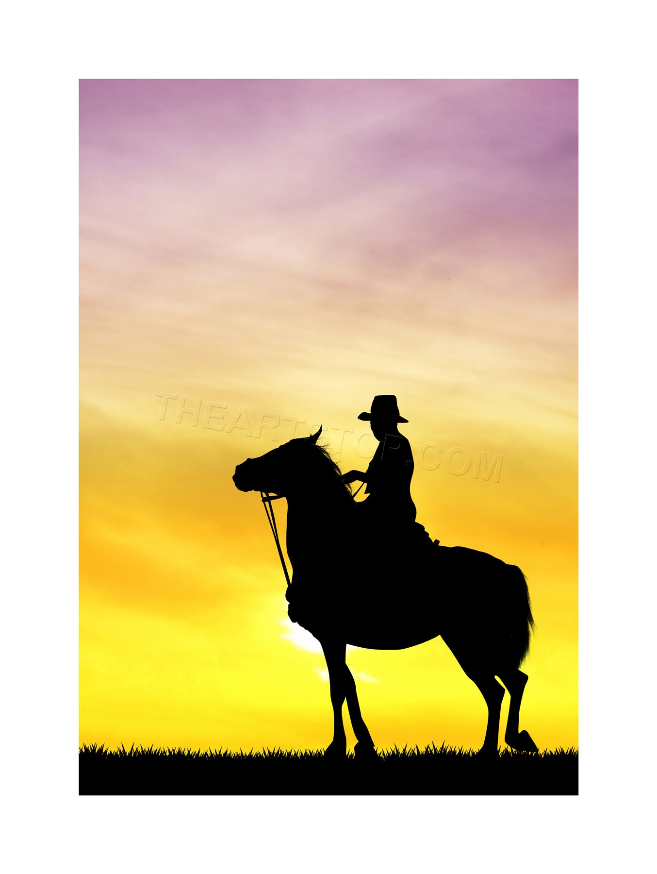 1354x1800 Photo Mock Up Silhouette Sunset Cowboy Framed Print F12x5336