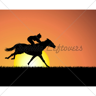 325x325 Silhouettes Of Horse Family At Sunset Gl Stock Images