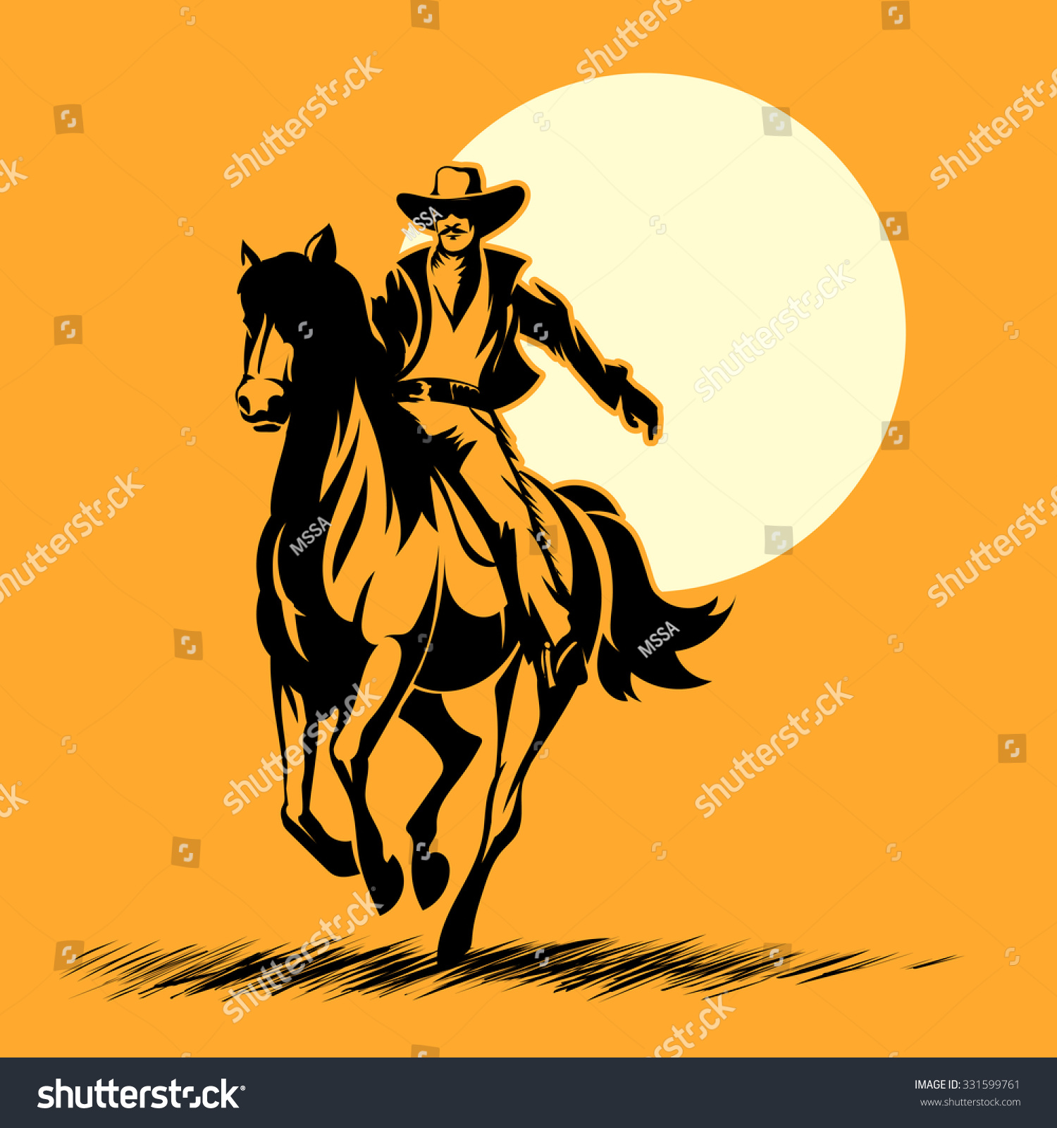 1500x1600 Wild West Hero, Cowboy Silhouette Riding Horse