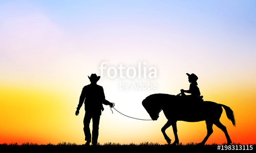 500x299 Silhouette Cowboy Riding Horse On White Background Stock Photo