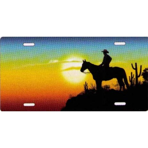 500x500 Cowboy On Horseback With Sunset Novelty License Plate Pss T2275d