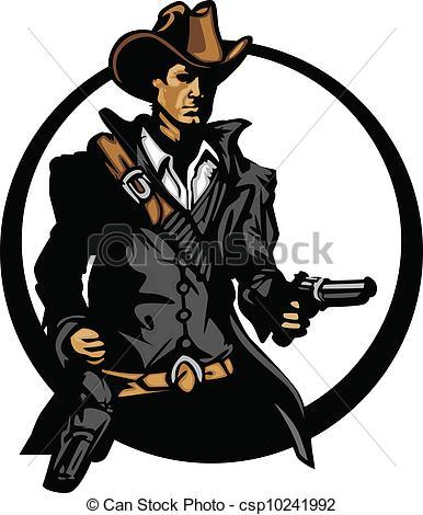 386x470 Cowboy Mascot Silhouette Aiming Guns. Graphic Mascot Image Eps