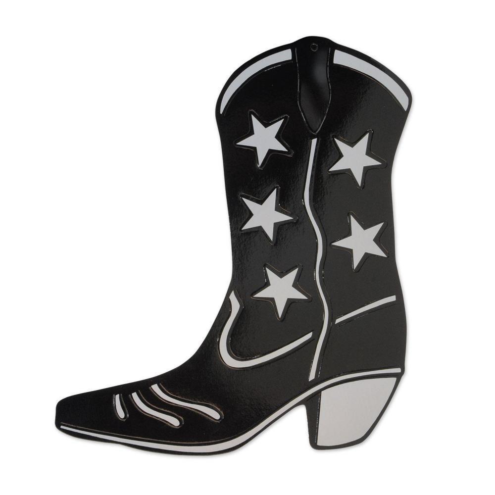 1000x1000 Western Foil Cowboy Boot Silhouette Black (24ct) Cowboy Boots