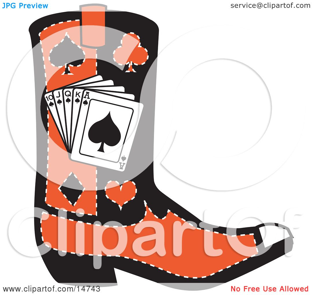 1080x1024 Blacknd Red Cowboy Boot With Playing Cardsnd Silhouettes
