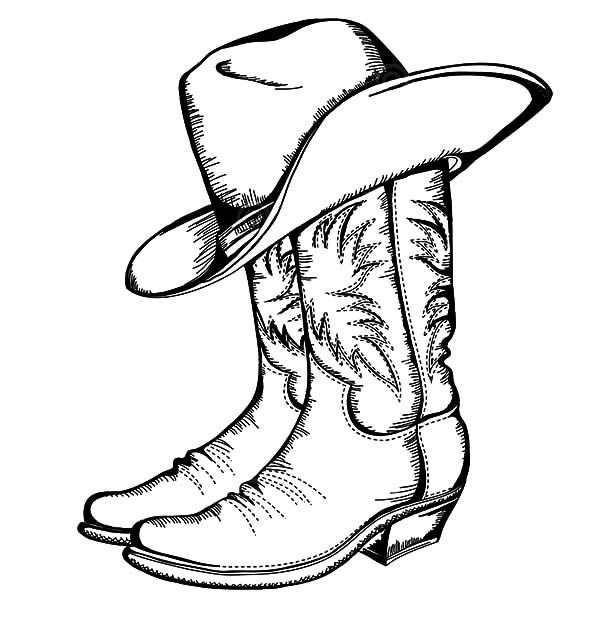 600x642 Cowboy Hat, Cowboy Boots And Hat Coloring Pages Tattoos