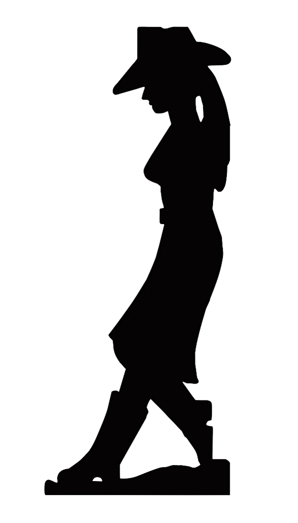 600x1050 Leaning Cowgirl Silhouette Cutout Metal Sign Military Issue