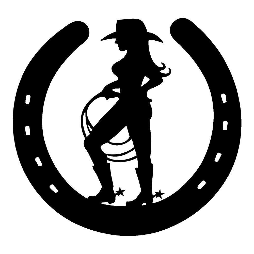 1000x1000 Cowgirl Horseshoe Cowboy Western Truck Stickers